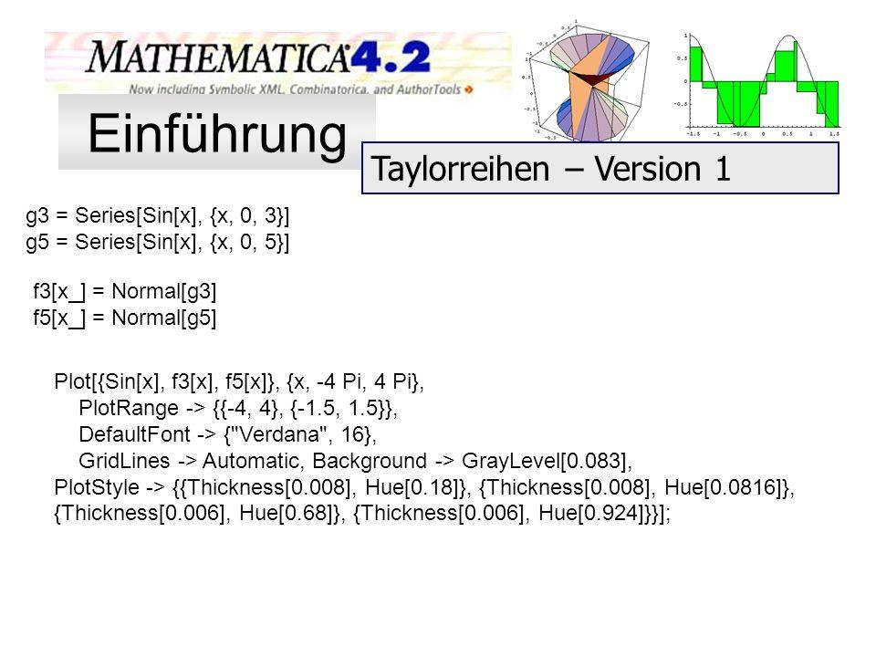 Einführung Taylorreihen – Version 1 g3 = Series[Sin[x], {x, 0, 3}]